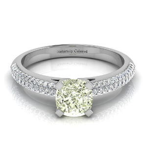 Micro Pave Cushion Cut Green Diamond Engagement Ring