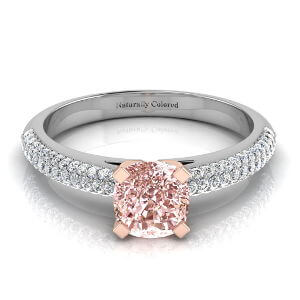 Micro Pave Cushion Cut Pink Diamond Engagement Ring