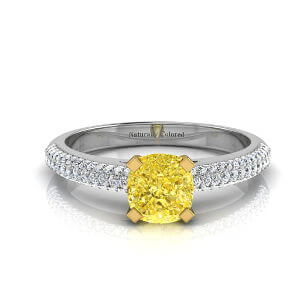 Micro Pave Cushion Cut Yellow Diamond Engagement Ring