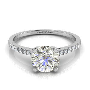 Pave Cathedral Solitaire Round Gray Diamond Engagement Ring