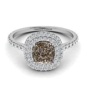 Double Halo Cushion Cut Brown Diamond Engagement Ring