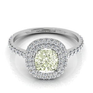 Double Halo Cushion Cut Green Diamond Engagement Ring