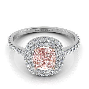 Double Halo Cushion Cut Pink Diamond Engagement Ring