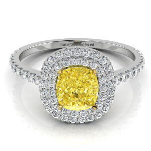 Double Halo Cushion Cut Yellow Diamond Engagement Ring