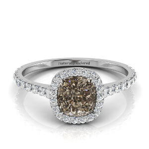 Halo Cushion Cut Brown Diamond Engagement Ring