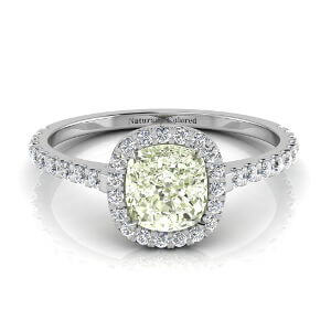 Halo Cushion Cut Green Diamond Engagement Ring