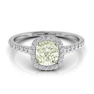 Halo Cushion Cut Green Diamond Engagement Ring