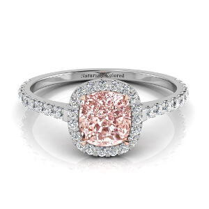 Halo Cushion Cut Pink Diamond Engagement Ring