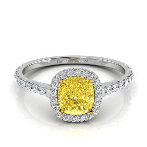 Halo Cushion Cut Yellow Diamond Engagement Ring