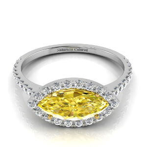 East West Halo Marquise Yellow Diamond Engagement Ring
