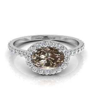 East West Halo Oval Brown Diamond Engagement Ring