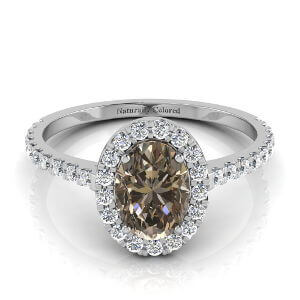 Halo Oval Brown Diamond Engagement Ring