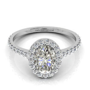 Halo Oval Gray Diamond Engagement Ring