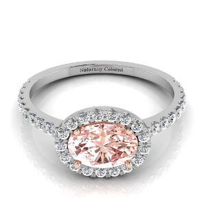 East West Halo Oval Pink Diamond Engagement Ring
