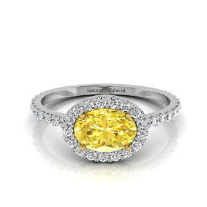 East West Halo Oval Yellow Diamond Engagement Ring