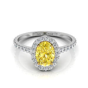Halo Oval Yellow Diamond Engagement Ring