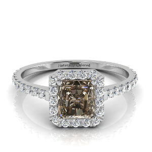 Halo Radiant Cut Brown Diamond Engagement Ring