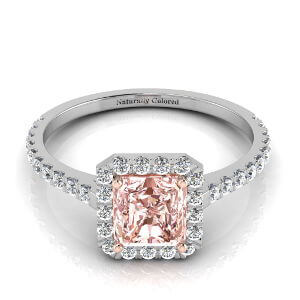 Halo Radiant Cut Pink Diamond Engagement Ring