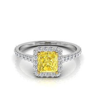 Halo Radiant Cut Yellow Diamond Engagement Ring