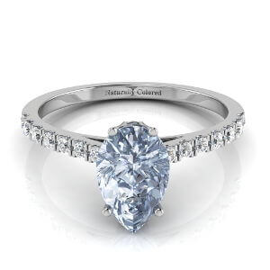 Pave Solitaire Pear Shape Blue Diamond Engagement Ring