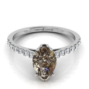Pave Solitaire Pear Shape Brown Diamond Engagement Ring