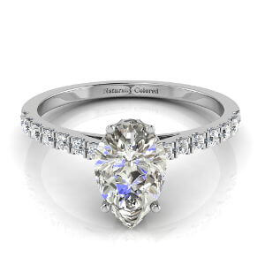 Pave Solitaire Pear Shape Gray Diamond Engagement Ring