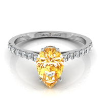 Pave Solitaire Pear Shape Orange Diamond Engagement Ring