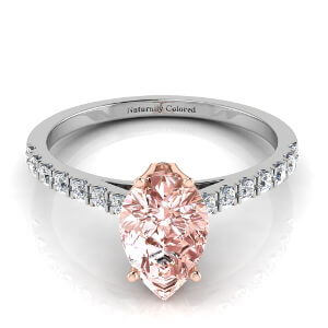Pave Solitaire Pear Shape Pink Diamond Engagement Ring