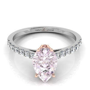 Pave Solitaire Pear Shape Purple Diamond Engagement Ring