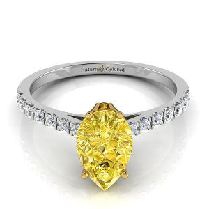 Pave Solitaire Pear Shape Yellow Diamond Engagement Ring