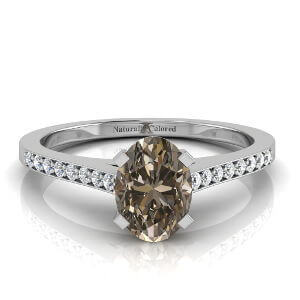 Channel Setting Oval Brown Diamond Engagement Ring