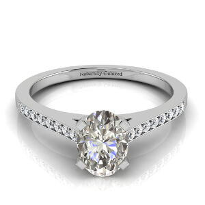 Channel Setting Oval Gray Diamond Engagement Ring