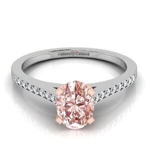 Channel Setting Oval Pink Diamond Engagement Ring