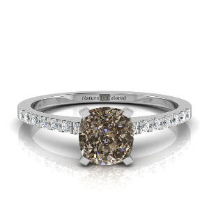 Pave Solitaire Cushion Cut Brown Diamond Engagement Ring
