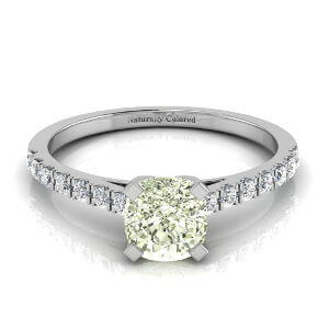 Pave Solitaire Cushion Cut Green Diamond Engagement Ring