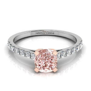 Pave Solitaire Cushion Cut Pink Diamond Engagement Ring