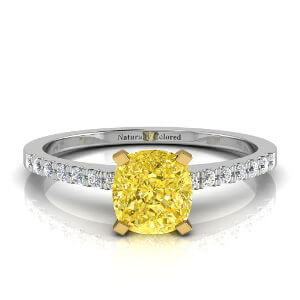 Pave Solitaire Cushion Cut Yellow Diamond Engagement Ring
