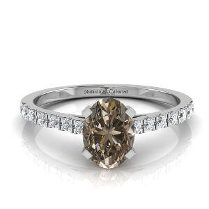 Pave Oval Brown Diamond Engagement Ring