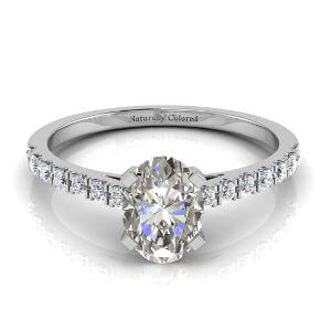 Pave Oval Gray Diamond Engagement Ring
