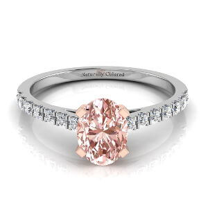 Pave Oval Pink Diamond Engagement Ring