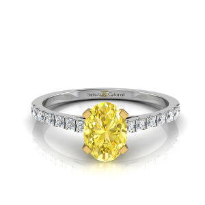 Pave Oval Yellow Diamond Engagement Ring