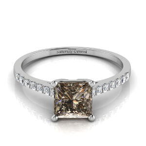 Pave Solitaire Princess Cut Brown Diamond Engagement Ring