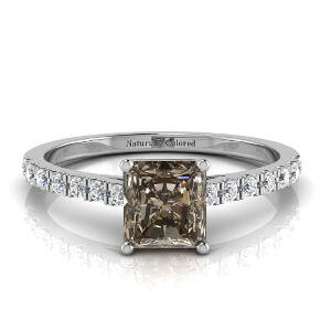 Pave Radiant Cut Brown Diamond Engagement Ring
