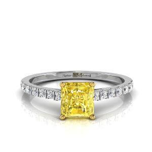 Pave Radiant Cut Yellow Diamond Engagement Ring