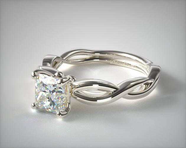 Princess Cut Infinity Solitaire Engagement Ring