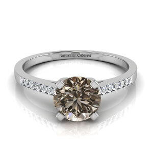 Channel Set Solitaire Round Brown Diamond Engagement Ring