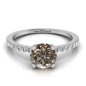 Pave Solitaire Round Brown Diamond Engagement Ring