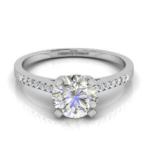 Channel Set Solitaire Round Gray Diamond Engagement Ring