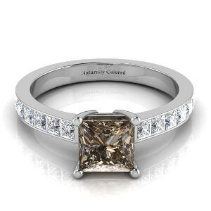 Solitaire Princess Cut Brown Diamond Engagement Ring with Channel Setting