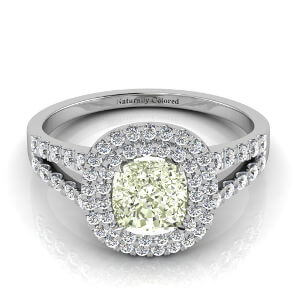 Double Halo Cushion Cut Green Diamond Engagement Ring With Split Shank